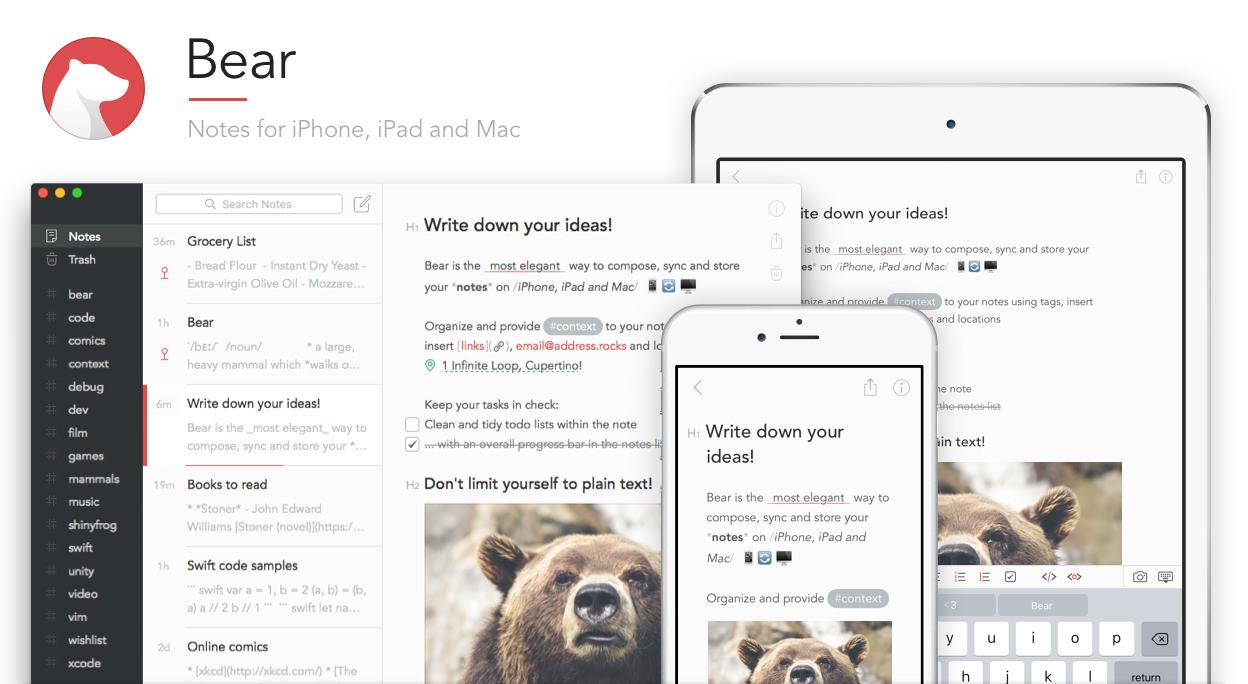 Bear – моё любимое приложение для заметокдля Mac, iPhone и iPad