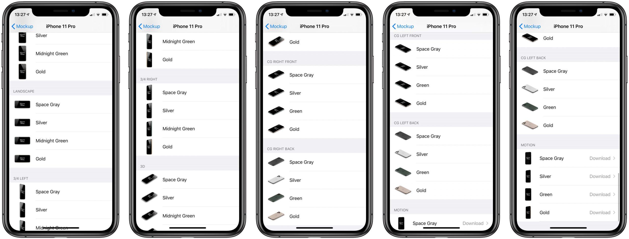 Все доступные варианты скриншотов дл iPhone 11 Pro