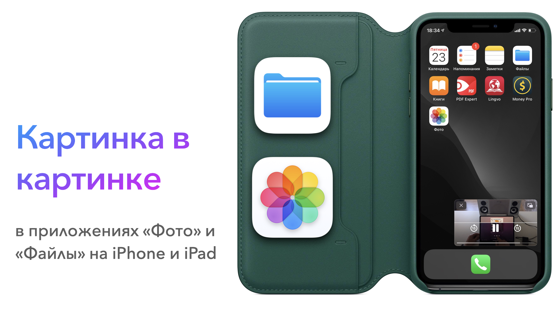 Картинка в картинке в приложениях «Фото» и «Файлы» на iPhone и iPad